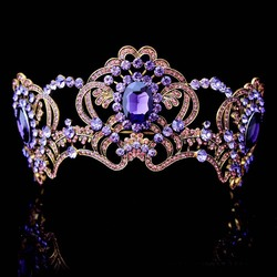 Baroque Purple Flower Crystal Bridal Tiaras Crown For Bride Gold Color Rhinestone Diadem Crown Headband Wedding Hair Accessories