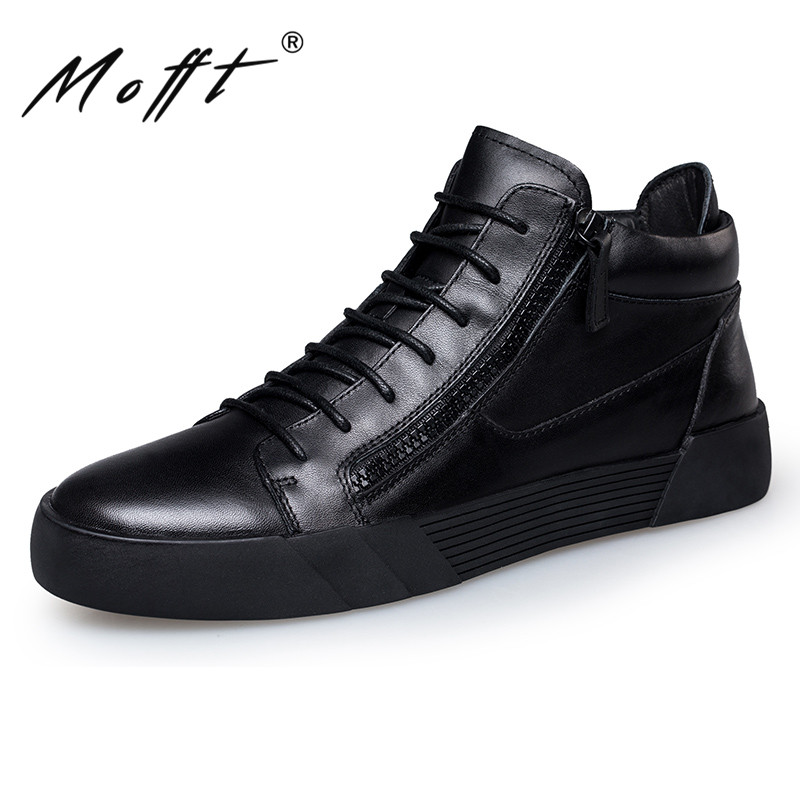 Autumn New Handmade Leather Men Shoes Fashion Design Lace Up High Top Men Shoes Side Zipper