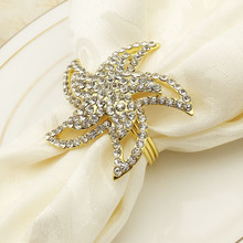 10PCS hotel western starfish napkin buckle ring zinc alloy mat towel