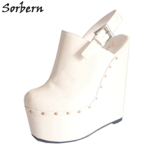 Sorbern White Slingbacks Pump Extrem High Heels 20Cm /7Cm High Platform Thick Wedge Heeled Pointed Toe Luxury Fetish Shoes недорого