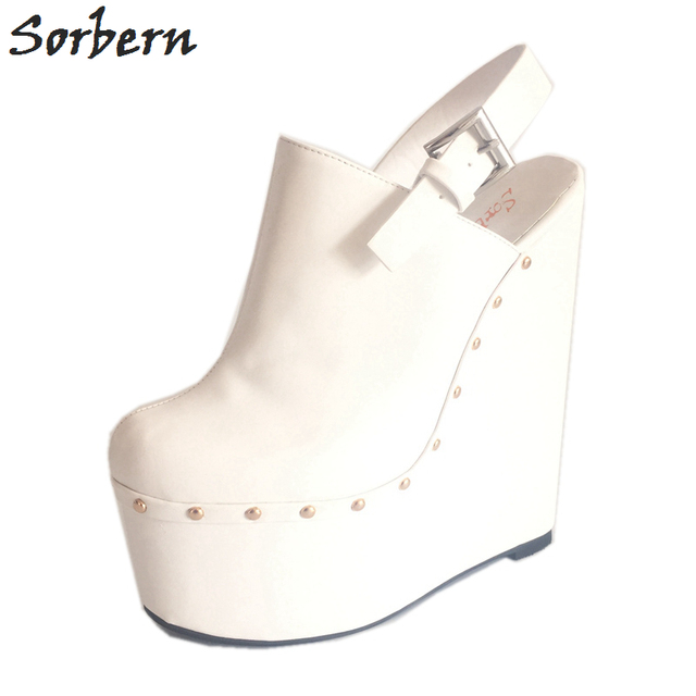 Sorbern White Slingbacks Pump Extrem High Heels 20Cm /7Cm High Platform Thick Wedge Heeled Pointed Toe Luxury Fetish Shoes