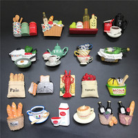 16pcs/set 3D Food Fridge Magnet Europe Souvenir Kitchen Refrigerator Magnets Message Sticker Home Decorations