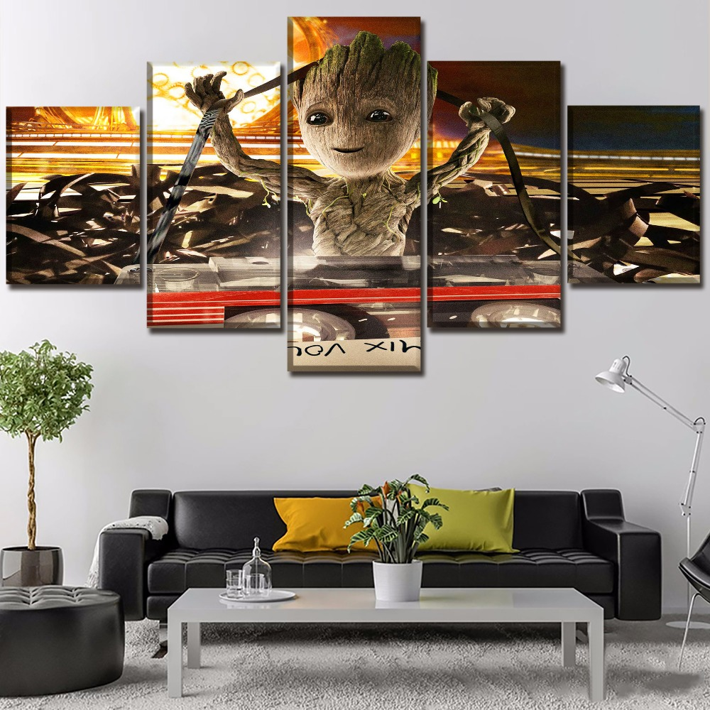 One Set Modular Picture Decor Frame 5 Panel Baby Groot Painting Movie Guardians Of The Galaxy Vol 2 Poster Wall Art Home Decor