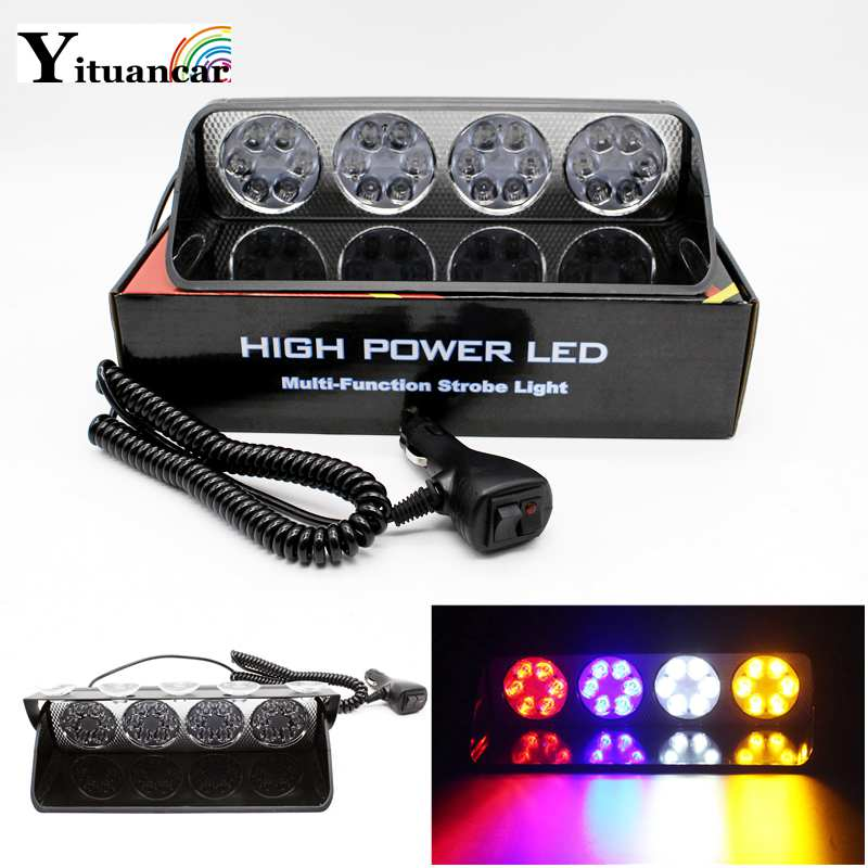 Yituancar 1X 24Chips LED Multi-Function Strobe Warning Light In Car Styling 7 Modes Flash Fireman Police Beacon Emergency Lamp windshield led strobe light warning light car flash signal emergency fireman police beacon car truck high power bright
