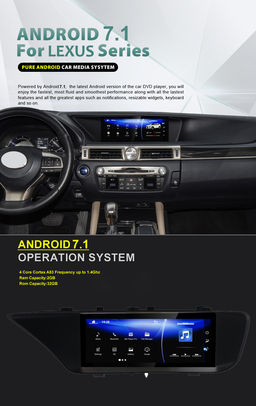 NAVIRIDER Android 7.1 Car Multimedia DVD GPS Audio Radio Stereo For <font><b>Lexus</b></font> GS GS200t GS250 <font><b>GS350</b></font> GS400 2011~2018 Navigation navi image