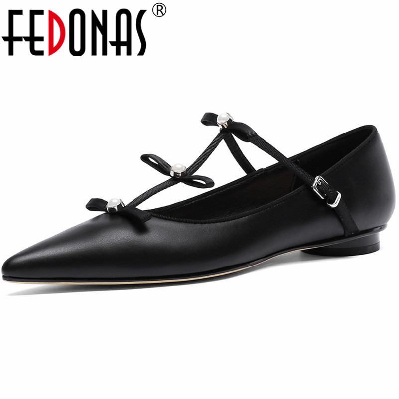FEDONAS Sexy Women Bowtie Party Wedding Shoes Genuine Leather Pointed Toe Cute Casual Shoes Woman Buckles