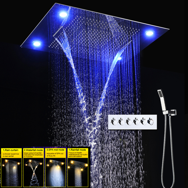 Electric LED Shower For Bath 5 Function Ceiling Massage Shower Heads Set Rain Mist Water Faucets Hot/ Cold Mixer Shower
