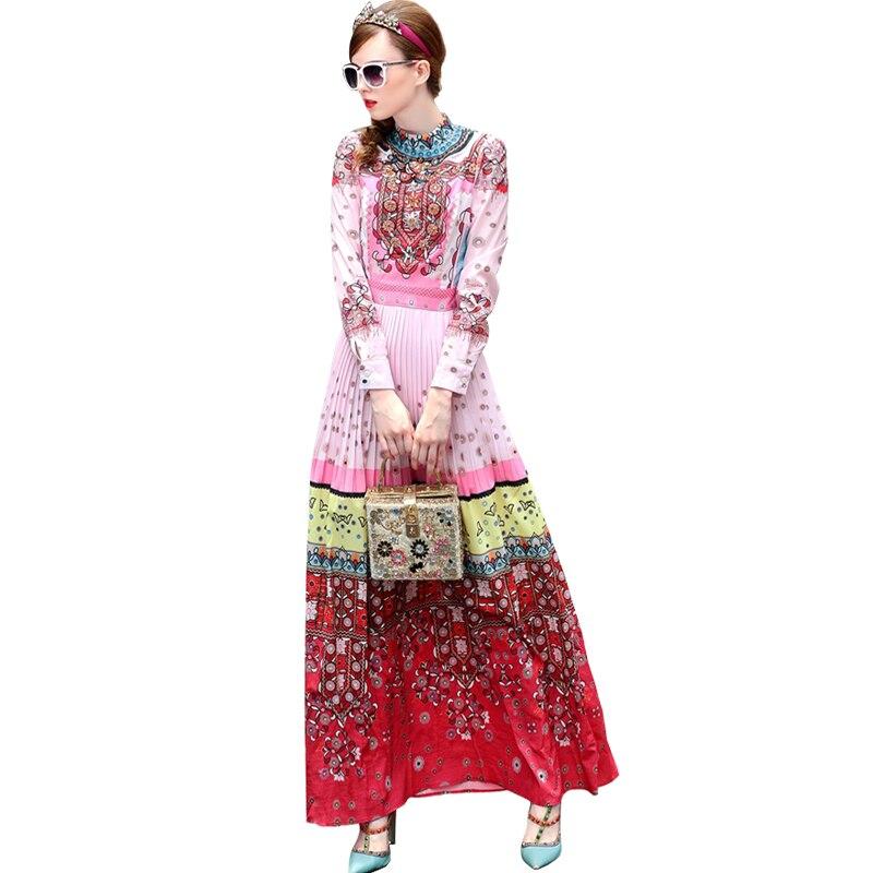 S-3XL haute qualité printemps 2018 piste nouvelles femmes plissée de luxe perlé à la main mode rétro impression robe à manches longues