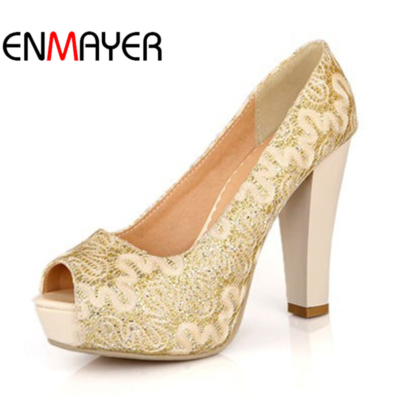 ENMAYER Sexy Peep Toe Sequined Cloth High Heels Women Pumps Shoes Party Pumps 2018 Brand New