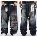 Más el Tamaño de hip hop holgados pantalones vaqueros de la pintura de jean de los hombres pantalones harén Monopatín desinger impresa Jeans Loose Estilo hombre