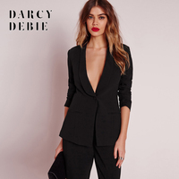 Darcydebie Apparel Black Office Blazer Suit Jacket Female Casual Slim Elegant Women Suit Coat V Neck Sexy Chic Set Suit Blazer