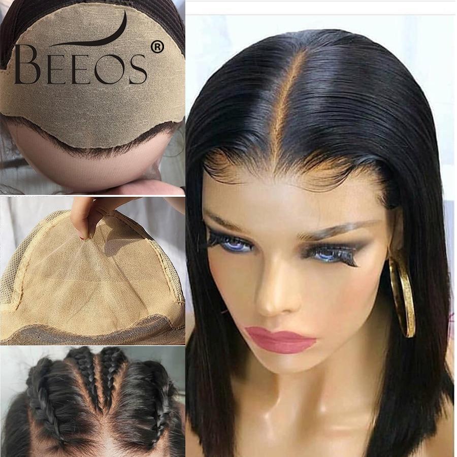 Beeos falso peruca do couro cabeludo 13x6 laço frontal invisível nó peruca reta bob perucas pré arrancadas profunda cabelo remy partperuano