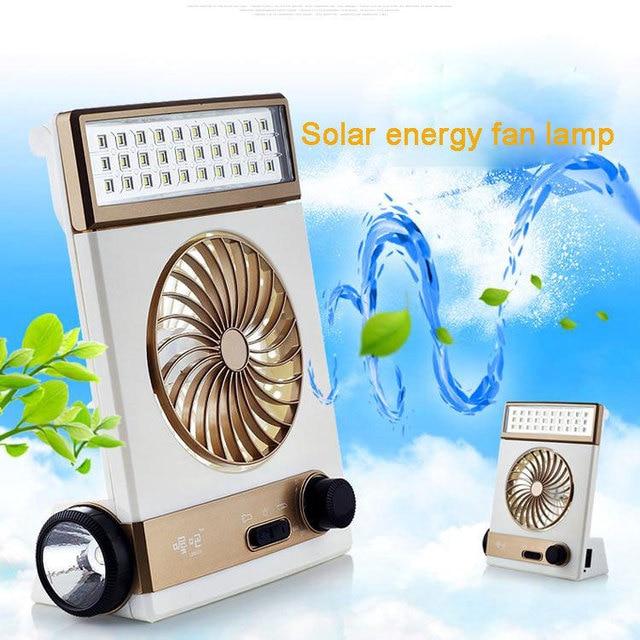 Multifunctional desk lamp  Solar rechargeable fan lamp Mini fan protable desk light Emergency flashlight
