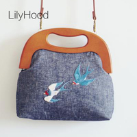LilyHood Women Embroidery Burlap Totes Jute Vintage Retro Shabby Chic Distressed Rustic China Wood Handle Gray