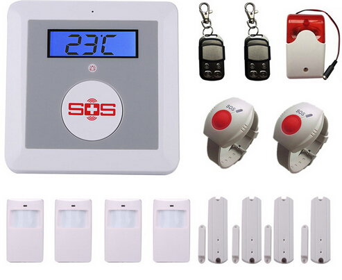 Wireless GSM SMS Senior Telecare Home Security Alarm System with LCD Display SOS Call for Elderly Care mobile Phone Control