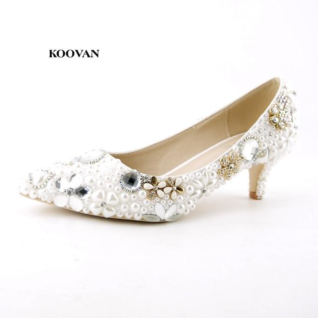 Koovan Wedding Shoes 2017 New Fashion Low Heel Bridal Shoes Women Crystal  Diamond Pearl Flowers Pointed