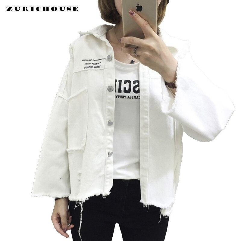 Black Denim   Jacket   Women Fashion Patch Print   Basic   Coat 2019 Spring Long Sleeve Frayed Hole Jean   Jacket   Womens White Denim Coat
