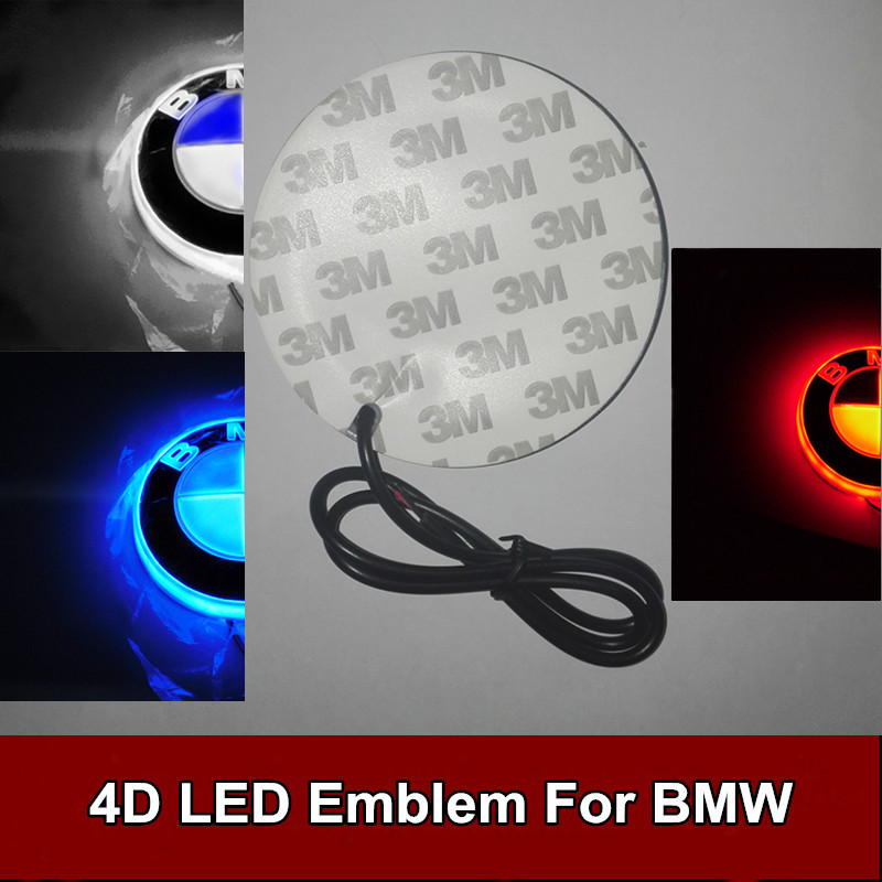 1pcs 82mm 4D Led Rear Emblem Car Logo Light Badge Bulb for BMW Car Styling car styling 5d led rear emblem logo light car badge bulb for audi q3 q5 a1 a3 tt