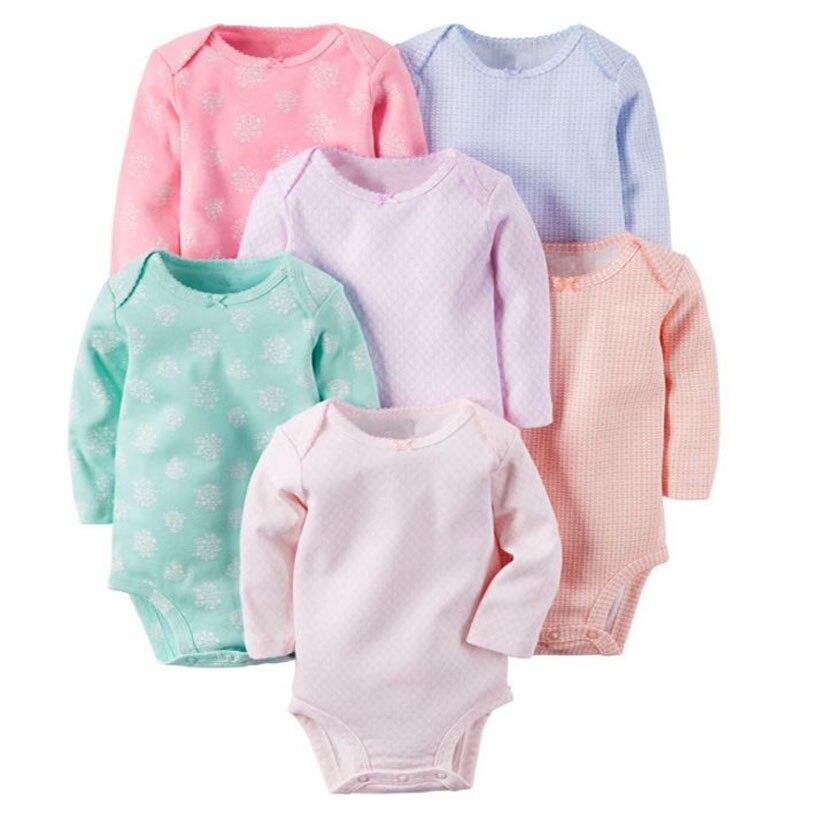 Одежда для маленьких девочек, 6 шт./лот/партия, хлопковое боди с длинными рукавами и круглым вырезом, комплект для маленьких мальчиков, одежд...