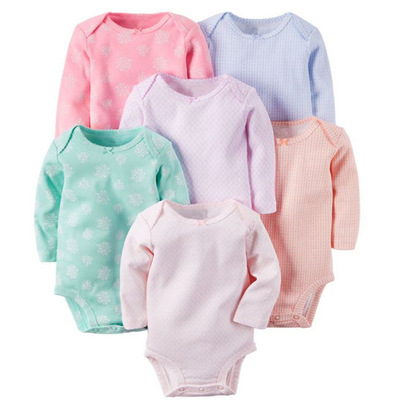 BABY GIRL CLOHTES,6PCS/LOT,long sleeve o-neck bodysuit cotton,baby bodysuit boy set,unisex newborn clothes,6-24M INFANT CLOTHING trumpet sleeve flounce surplice wrap bodysuit