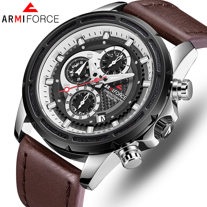 Top Luxury Brand ARMIFORCE Men Watches Quartz Military Mens Leather Watches Business Men's WristWatch Waterproof Sports Clock