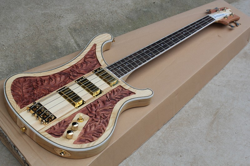 Free Shipping Top Quality Maple Neck Through Ash Body Gold hardwares Carved Ricken 4002 LK Lemmy 4 Strings Bass Guitar 914