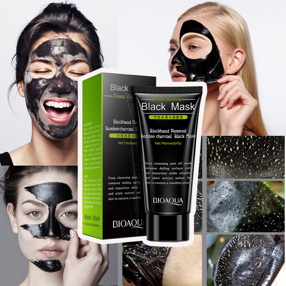 BIOAQUA Bamboo charcoal Blackhead Removal Face Mask Deep Cleansing Mud Black Mask Acne Treatments Mask Blackhead Facial Mask