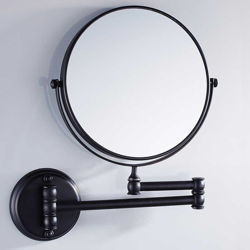 8-Inch Solid Brass Bathroom Vanity Mirror Folding Wall Mounted Folding Makeup Double Side Magnification Mirror LO741118
