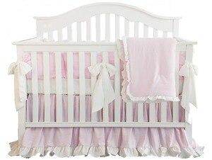 3 pçs pêra rosa blush coral rosa plissado berço jogo de cama linho algodão para a menina do bebê incluem fronha folha quilter