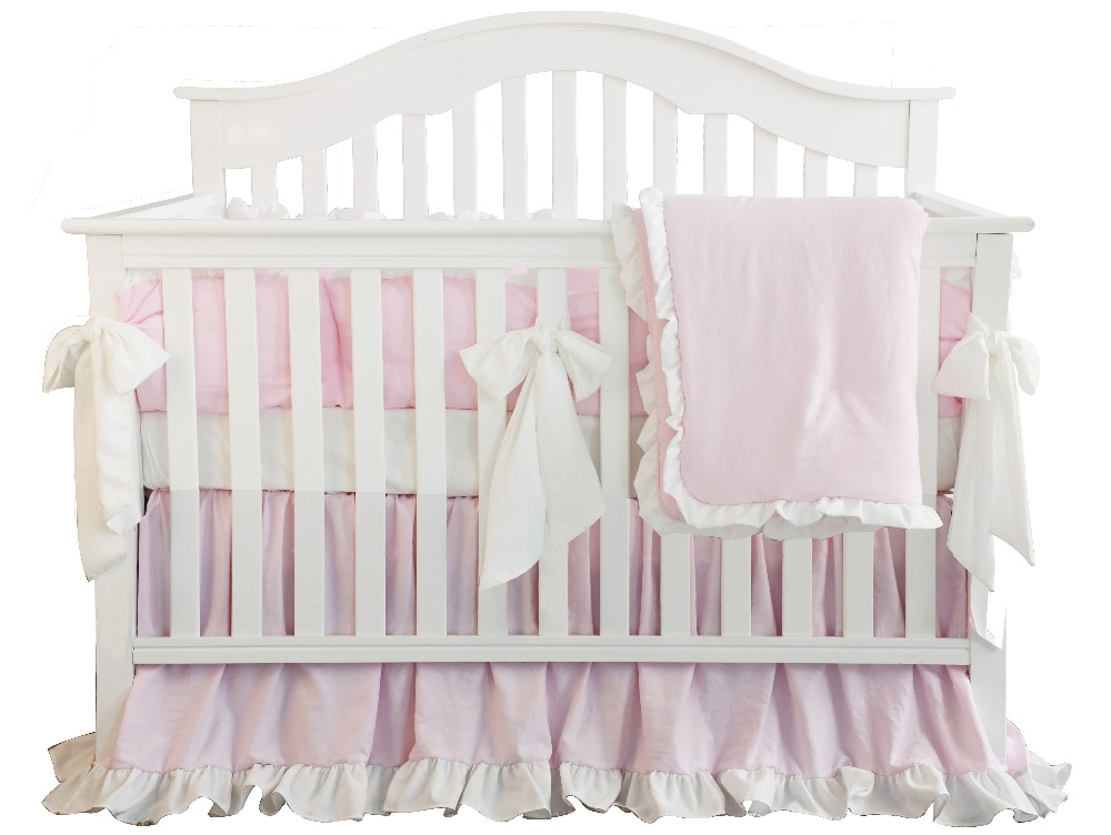 3pcs Pear Pink Blush Coral Pink Ruffle Crib Bedding Set Linen Kit Cotton For Baby Girl Include Pillowcase Bed Sheet Quilter