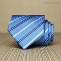 2017 New High Quality Business Tie Men 8cm Wide Twill Work Necktie Noble Light Blue White Stripe Tie for Men Gravata Gift Box