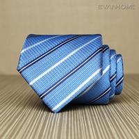 2017 New High Quality Business Tie Men 8cm Wide Twill Work Necktie Noble Light Blue White Stripe Tie for Men Gravata Gift Box