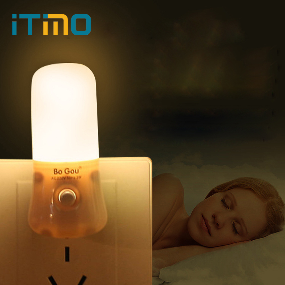 iTimo LED Night Light Energy Saving Home Indoor Lighting 3W Wall Socket Night Lamp Room Corridor Emergency Light 220V US Plug top baymax cartoon night light lamp 110v 220v us eu plug baby room led energy saving lamp kids light bedside lamp lighting
