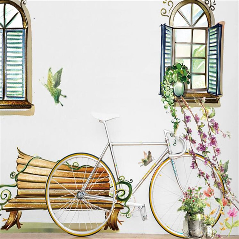 2016 new Warm Window Chair Flowers Anime Wall Sticker Home Decor for Kids Room Decal Sticker Bedding Room AY939