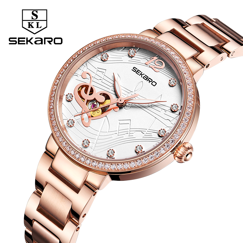 Sekaro Fashion Skeleton Music Note Women Mechanical Watch Stainless Steel Diamond Wristwatch For Women Clock Gift Montre Femme music note dial stainless steel watch