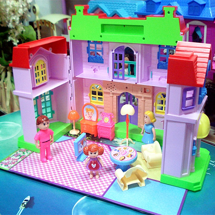 Miniature Dollhouses gift toys villa house happy family theme princess house room toy suit set Furniture Kits girl child doll funny fishing game family child interactive fun desktop toy