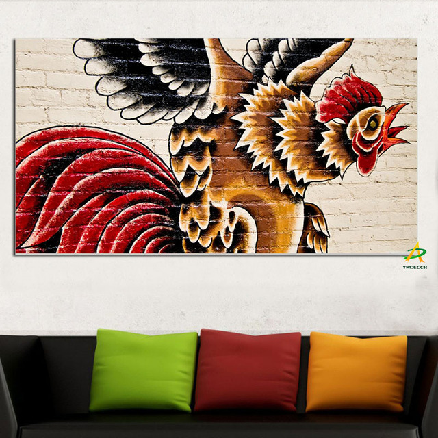 Ywdecor Rooster Street Art Jumping Canvas Painting Digital Prints On Poster Wall Picture