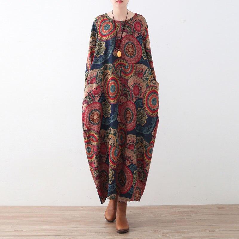 Johnature Women พิมพ์ดอกไม้ชุดหนา Robe 2019 ฤดูหนาวใหม่แขนยาว O Neck ถักผ้าฝ้ายเสื้อผ้าผู้หญิงชุด-ใน ชุดเดรส จาก เสื้อผ้าสตรี บน   1