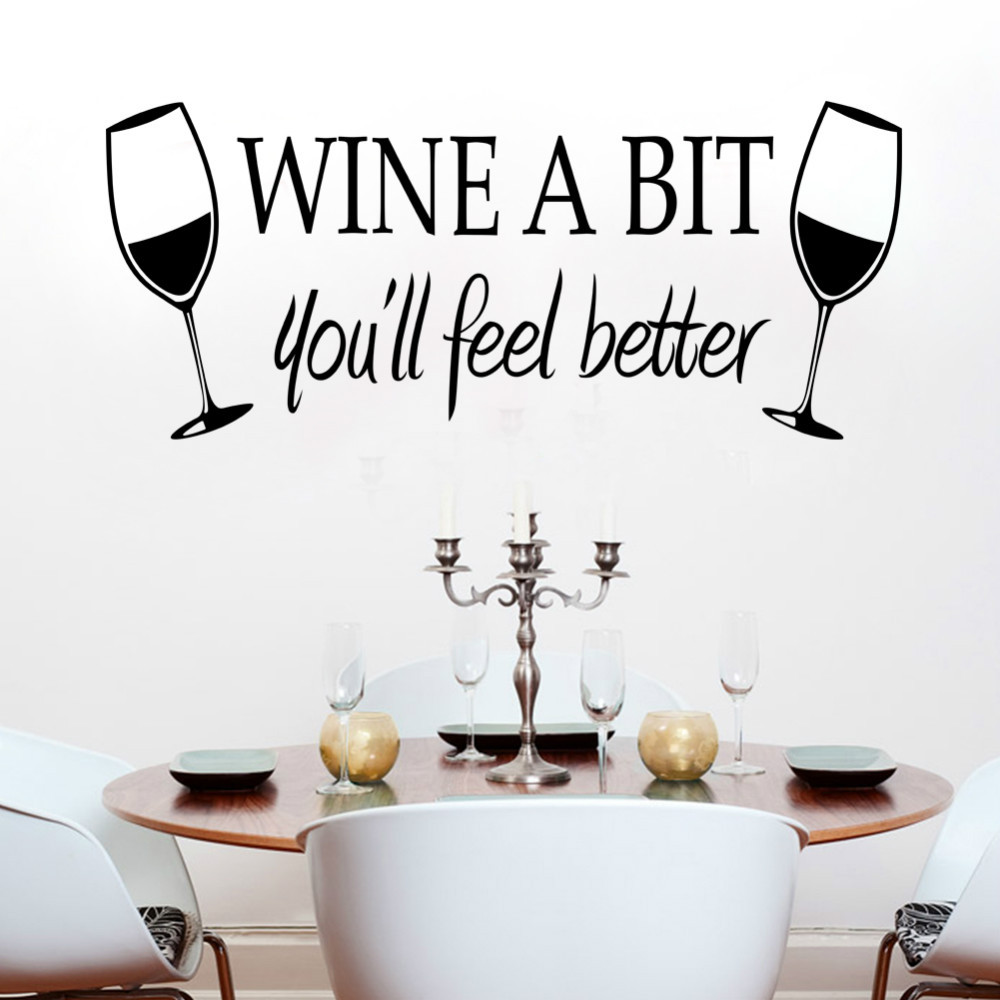 Wall art kitchen quotes - Wine A Bit Kitchen Vinyl Quote Wall Sticker Decor Mural Decals Home Decor For Kitchen Food