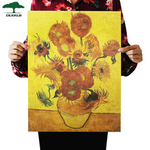 DLKKLB Retro Kraft Paper Van Gogh Poster Sunflower Modern Abstract Art Oil Painting Bar Cafe Wall Sticker Decorative(China)