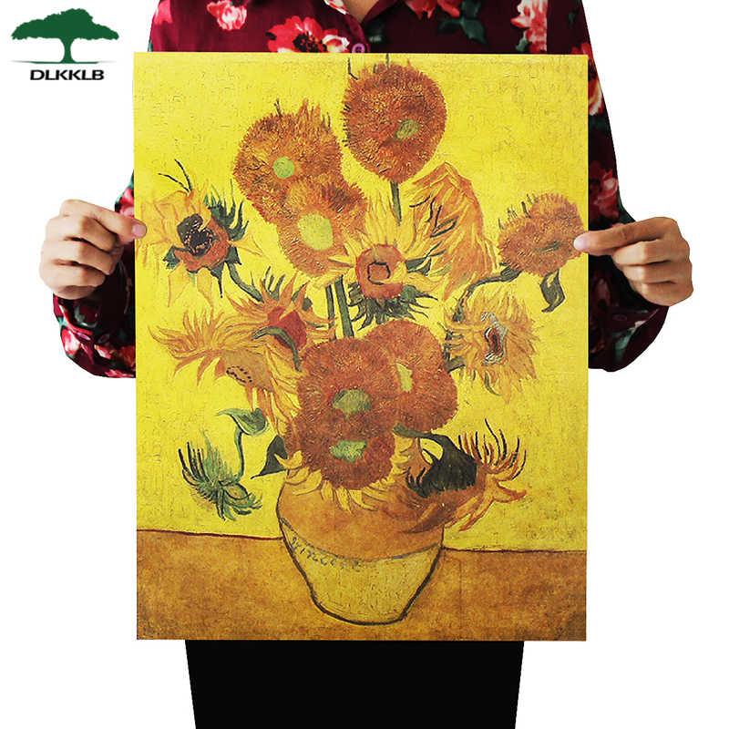Dlkklb rétro papier Kraft Van Gogh affiche tournesol moderne Art abstrait peinture à l'huile barre café autocollant mural décoratif