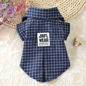 New Design Summer Plaids Grid Checker Pet Dog Puppy Shirts lapels Coat Clothes For Classic Small Dogs T-shirt Vest Pets Apparel