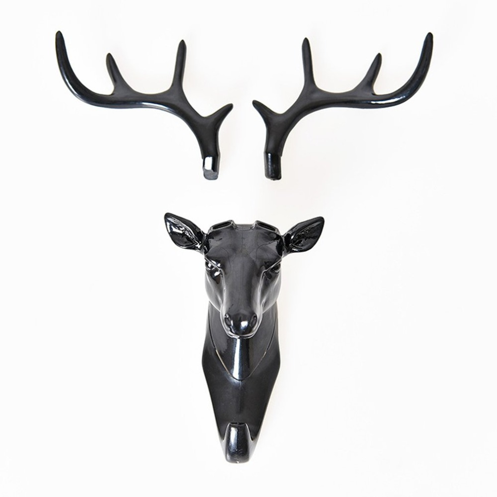 Wall Hanging Hook Vintage Deer Head Antlers For Hanging Clothes Hat Key Holder Decorative Coat Hooks Suction Cup Organizer
