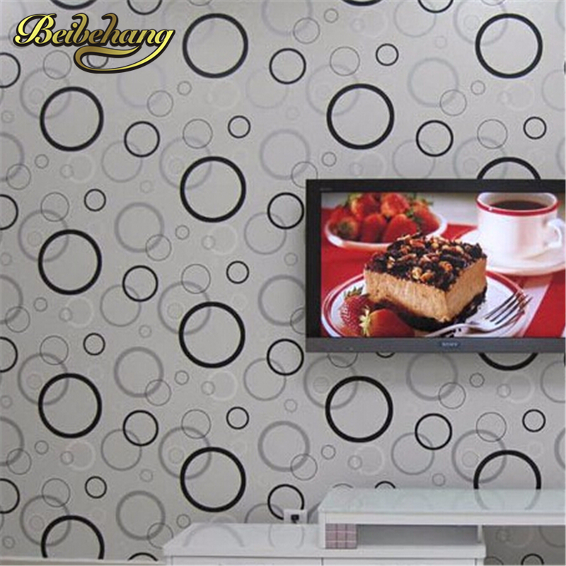 beibehang High Quality Modern black and white circle vinyl wallpaper roll for walls living room bedroom,dining room TV backdrop beibehang modern home decoration the geometry wallpaper for walls 3 d high quality living room tv background wallpaper roll