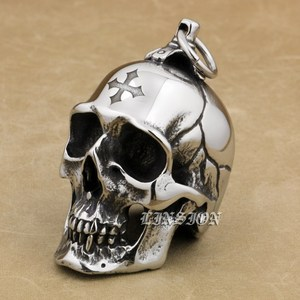 Image 4 - LINSION Huge Heavy 316L Stainless Steel Cross Skull Pendant Mens Biker Rocker Punk Style AJ101 Laser Engraved