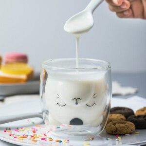 Image 2 - 250ML yaratıcı ayı kahve kupa sevimli hayvan çift cam kahve fincanı karikatür şeffaf süt kupalar bayan kahve fincanları çocuk hediye