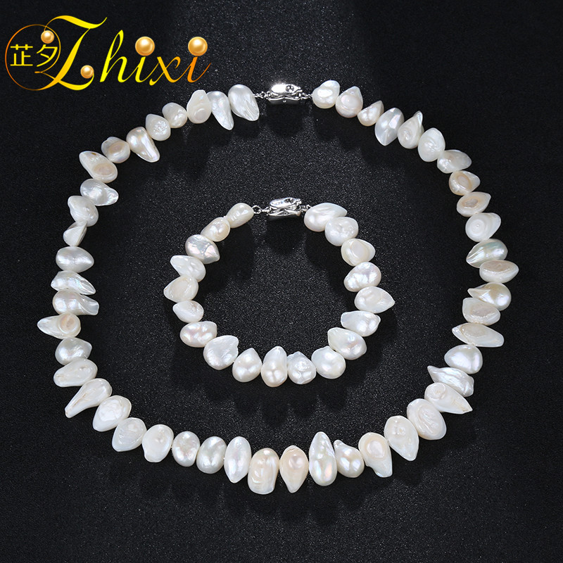ZHIXI Fresh Water Pearl Jewelry Set Natural Baroque Pearl Choker Necklace Bracelet New Fashion Trendy Birthday Gift T214