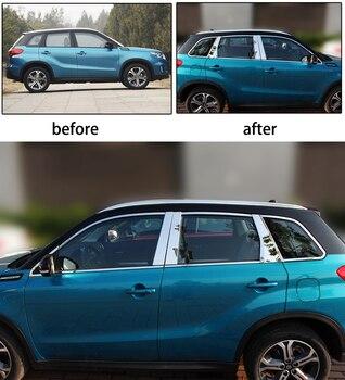 Garnitures de couvercle de seuil de fenêtre extérieure en acier inoxydable pour suzuki vitara 2015 2016 2017 2018 style de voiture