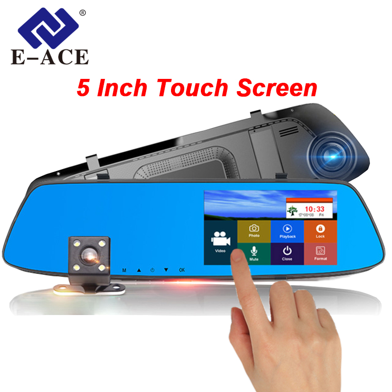 E-ACE Car DVR Camera 5 inch Touch Screen Dual Lens Rearview Mirror Video Recorder FHD 1080P Automobile DVR Mirror Dash cam plusobd best car camera for bmw 5 series e60 e61 rearview mirror camera video recorder automobile car dvr cheapest camcorder