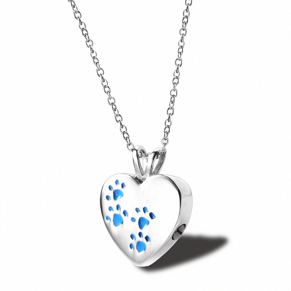 Heart Pet UrnTitanium Steel Openable Locket Dog Caskets Cat Memorials Pendant Ash Cremation Holder Paw Print Necklace